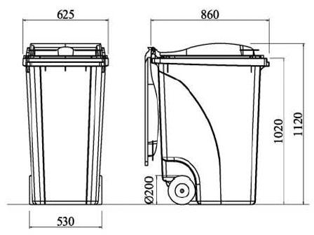 Cassonetto su 2 ruote fisse a Norme DIN 30740 - 360 litri